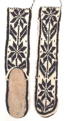 FAIRTRADE wool mix HAND knitted AFGHAN slipper SOCKS leather SOLE size 6-7-8 M57