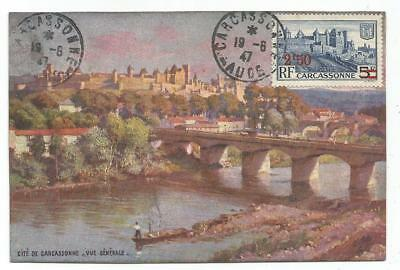 N° 490 Carte Maximum 2Fr50 Carcassonne 19.6.1947 Aude