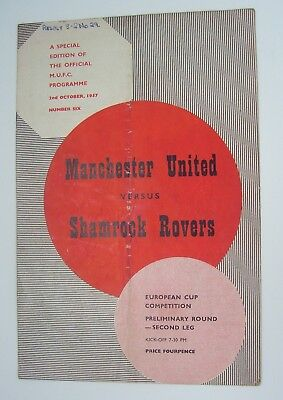 1957 - MANCHESTER UNITED v SHAMROCK ROVERS - EUROPEAN CUP - BUSBY BABES