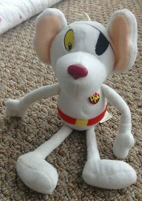 """Danger Mouse Soft Beanie Toy 10"""" 80s TV Character Dangermouse 2001 Cosgrove Hall"""