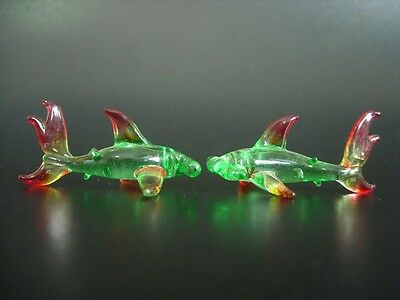 2 Tiny Glass HAMMERHEAD SHARKS, Marine Glass Animals Green & Red Glass Ornaments