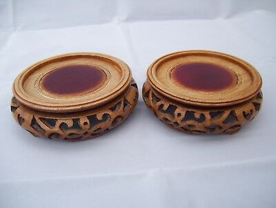 2 Wooden Chinese Pot, Vase, Bowl Stands,
