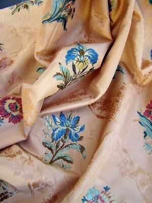 Silk Jacquard French antique fabric 19th-century floral decor rust colour