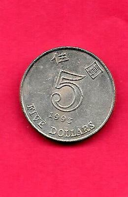 Hong Kong Km65 1993 Vf-Very Fine-Nice Large Thick 5 Dollar Circulated Coin