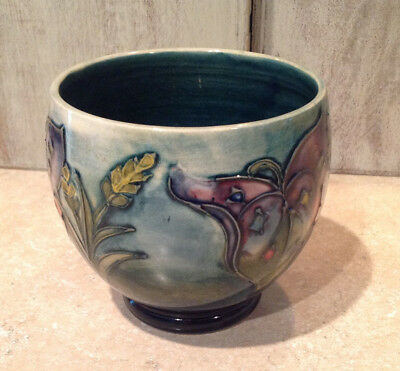 Antique Moorcroft Pottery - Blue Flowered Bowl - Vase - Made in England