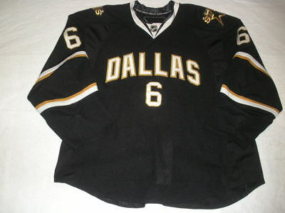 2010-11 Trevor Daley Dallas Stars Black Game Used Worn Reebok Jersey MeiGray