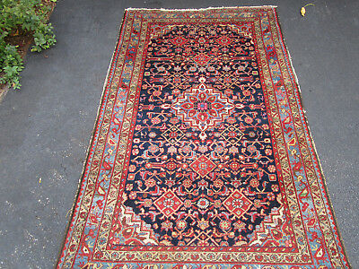 "Antique Hamadan Geometric Persian Rug with Great Old Colors 4'1"" X 6'8"""