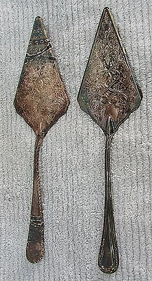 """Two vintage Italy heavy silverplate large 12"""" cake pie serving spatulas FREE S/H"""