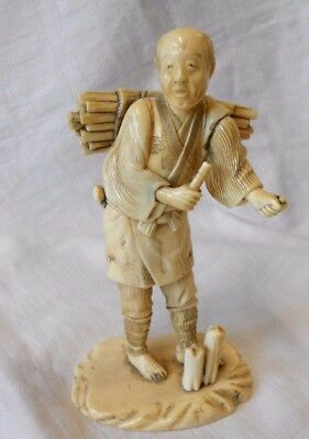 Superb Carved Chinese Japanese Oriental Figure Of A Man Farmworker - Signed