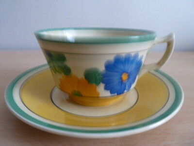 Superb Clarice Cliff Cup And Saucer Sungay Design.