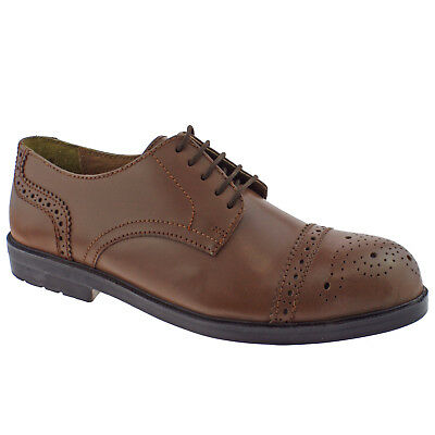 Mens Lotus Brogue Ii Brown Leather Lace Up Safety Shoes 89384