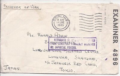China 1945 incoming POW cover to Shanghai camp, violet Returned handstamp