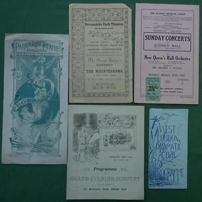 Collection of 5 Genuine Victorian / Edwardian Concert & Theatre Programmes