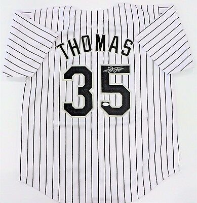 Frank Thomas Signed White Sox Custom White Pinstripe Jersey Jsa Authenticated