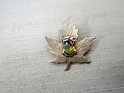 Old Sterling Silver CITY OF MONCTON Enamel Crest Maple Leaf Pin New Brunswick NB