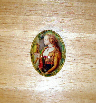 Medieval Lady 30X40mm Glitter Unset Handmade Art Bubble Cameo Cabochon