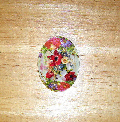 Colorful Vintage Floral 30X40mm Glitter Unset Handmade Art Bubble Cameo Cabochon