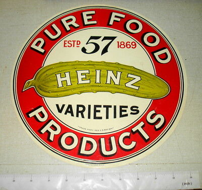 "Vintage HEINZ PURE FOOD PRODUCTS 11.25"" Diameter Paper Crate Label NR"