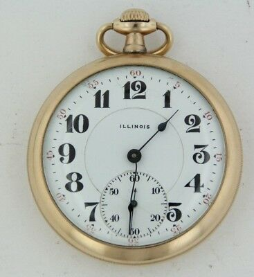 1917 Illinois 16s 17 Jewel Pocket Watch Gold Plated As Is