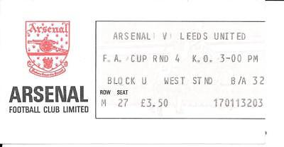 Ticket Arsenal v Leeds United FA Cup 4th Round 1982/83