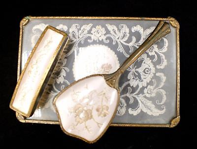 3pc Vintage Embroidered Lace Dresser/Vanity Set with Tray & Brushes - H09