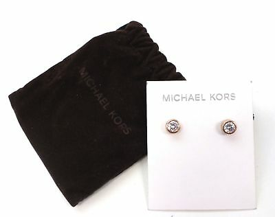 MICHAEL KORS - ROSE GOLD Tone, Clear Stone PVD Earrings - B56