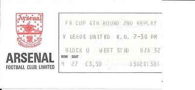 Ticket Arsenal v Leeds United FA Cup 4th Round 2nd Replay 1982/83