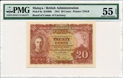 Board Of Comm. Of Currency Malaya  20 Cents 1941  PMG Unc 55EPQ