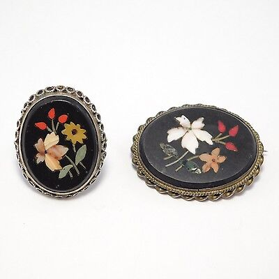 Antique Pietra Dura Mosaic Ring And Brooch Set
