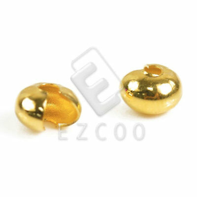 100pcs Crimp Cover End Beads Jewelry Making Findings Gold 4mm YBCP0028-1