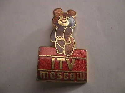 Rare Old 1980 Moscow Olympic Games Itv Tv Enamel Brooch Pin Badge