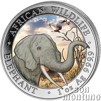 "2018 Somalian ELEPHANT ""DAY"" COLORIZED African Wildlife 1oz Silver Coin MTG=5000"
