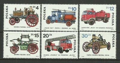 Road Transport-Cars-Fire Vehicles-1985 Poland-MNH Complete Set