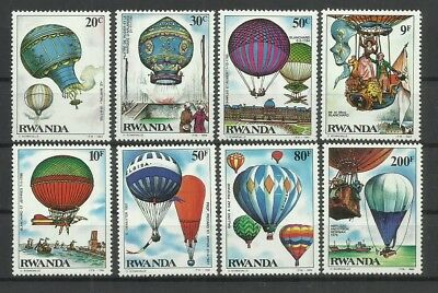 Aviation-Air-Aircraft-Hot Air Balloons-1984 Rwanda-MNH Complete Set