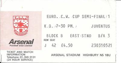 Ticket Arsenal v Juventus European Cup Winners' Cup Semi Final 1979/80
