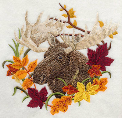 Embroidered Fleece Jacket - Moose in Autumn Leaves H7589 Sizes S - XXL