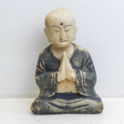 Antique Collectible Wood Namaskara Mudra Sitting Greeting Buddha Statue 8.5""