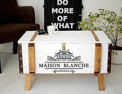 Shabby Chic Vintage Frachtkiste Holzkiste Truhe Couchtisch France Coffeetable 7