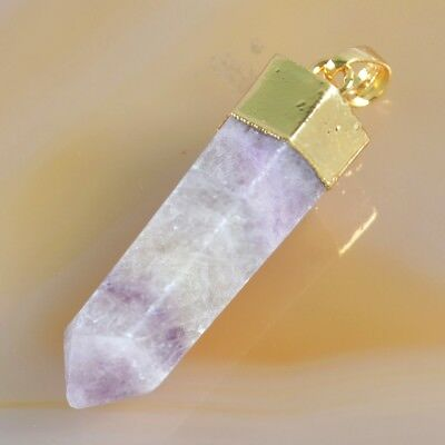Multi-Color Fluorite Hexagon Point Pendant Bead Gold Plated H103608