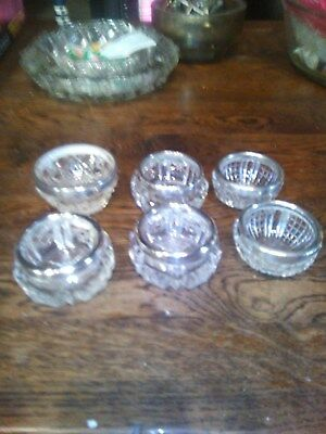 Six  Antique  Silver  And  Cut  Glass  Salts