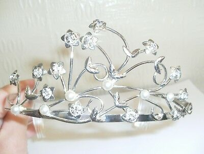 A Pretty Tiara with Faux Pearls and Sparkly Stones, Silver Coloured Metal Band