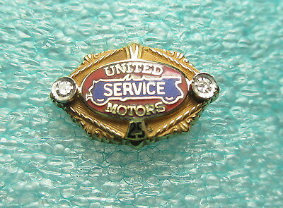 United Motors Service 25 Year Award Lapel Pin 14K Gold Cloisenne + 2 Diamonds
