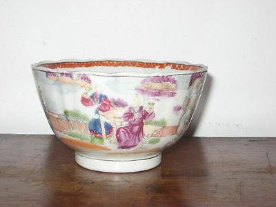 EARLY MILES MASON TEABOWL REGENCY ORIENTAL FIGURES famille COLOURS