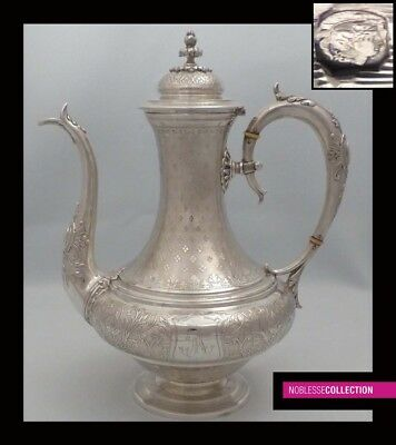LUXURIOUS ANTIQUE 1850s FRENCH ALL STERLING SILVER TEA POT Napoleon III Style