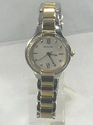 Women's Bulova 98R221 Two Tone Stainless Steel Diamond Accented White Dial Watch