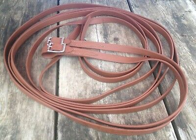 """Lightly used light brown biothane driving  lines / reins 3/4"""" X 14 ft US made"""