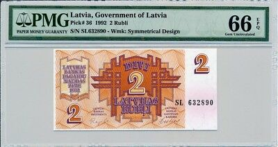 Government Of Latvia Latvia  2 Rublis 1992  PMG  66EPQ