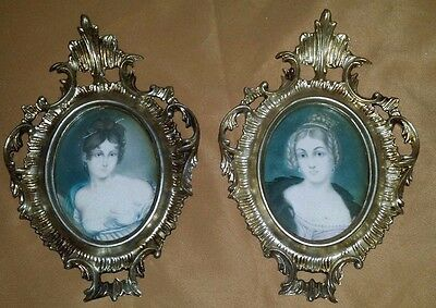 """Lot of 2 Small Beautiful VINTAGE Ornate Plastic Picture FRAMES 8 1/2""""H"""