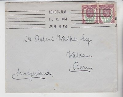 Gb Stamps 1912 Envelope To Switzerland From London Rares Collection