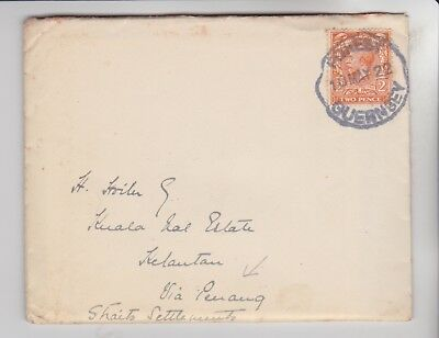 Stamps 1922 Letter From Guernsey To Straits Via Penang Rares Collection